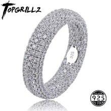 Bagues estampées en argent Sterling 925, bagues de fiançailles complètes glacées, zircone cubique, bijoux à breloques pour cadeaux