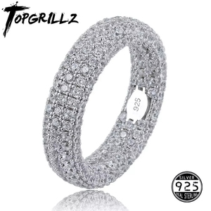 Image 1 - Best Quality 925 Sterling Silver Stamp Ring Full Iced Out Cubic Zirconia Mens Women Engagement Rings Charm Jewelry For Gifts