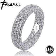 En kaliteli 925 ayar gümüş damga yüzük tam buzlu Out kübik zirkonya erkek kadın nişan yüzükleri cazibesi takı hediyeler için