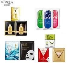 10Pcs BIOAQUA  24K gold foil face masks plant v shape facial mask Shrink pores Anti-Aging Moisturizing Oil-control skin care
