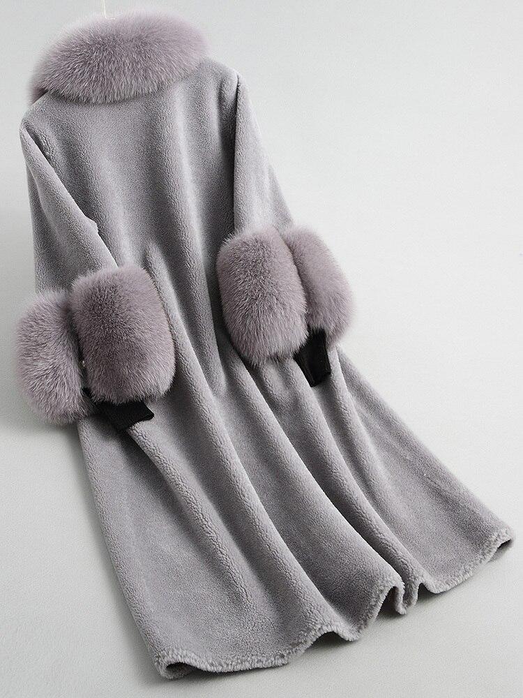 Fur Real Coat 2020 Autumn Winter Jacket Women Real Fox Fur Collar 100% Wool Coats And Jackets Women Korean Outwear MY S S