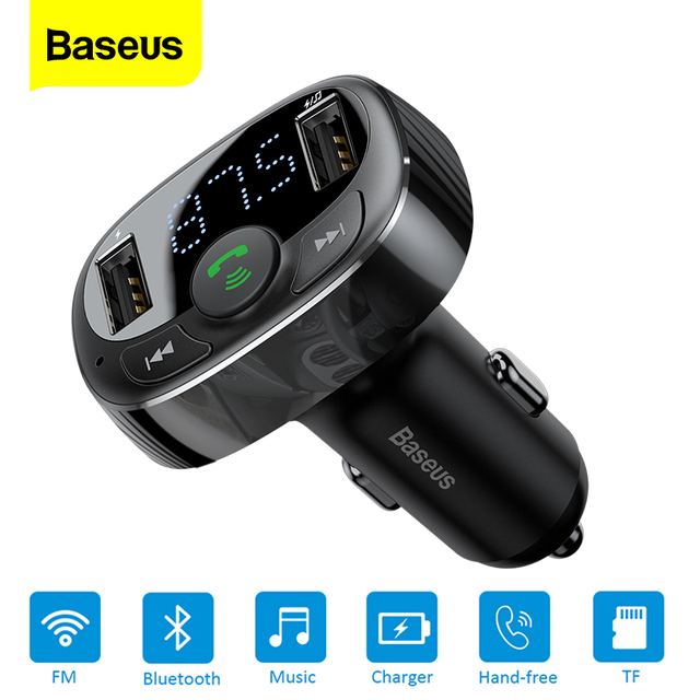 Baseus FM Transmitter Car Charger Aux Modulator Bluetooth Car Charging Kit Handsfree Audio MP3 Player 3.4A Dual USB Car Charger