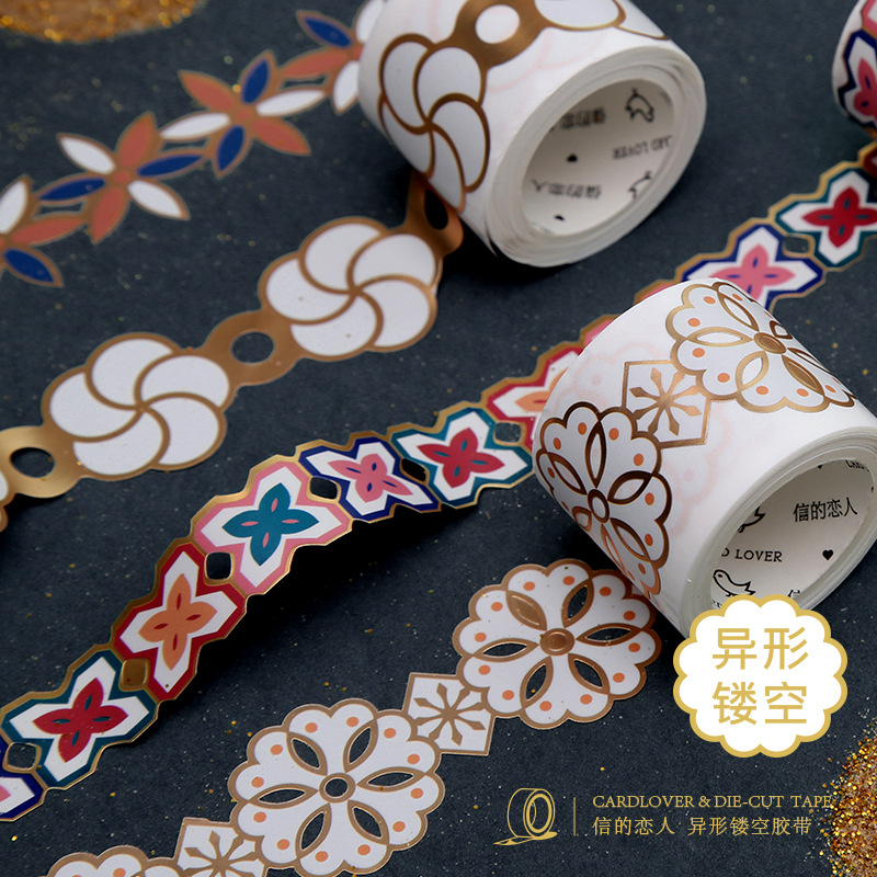 Golden Hollow Flower Series Color Vintage Washi Masking Tape Release Paper Stickers Scrapbooking Stationery Decorative Tape