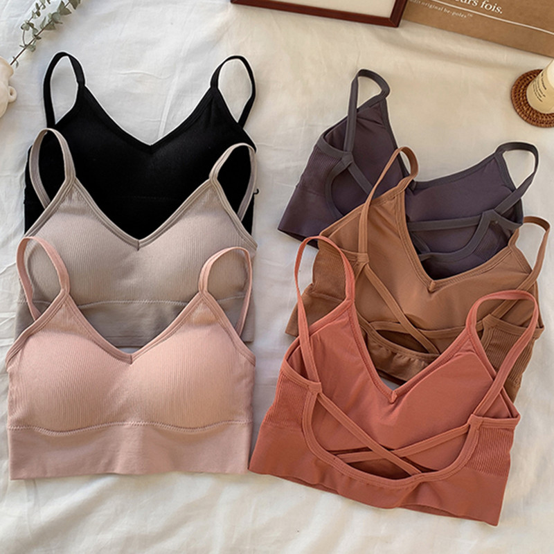 Women Crop Top Tube Top Sports Female Cropped Bra Seamless Underwear Padded Backless Sexy Lingerie Active Bra Tank Bandeau Tops