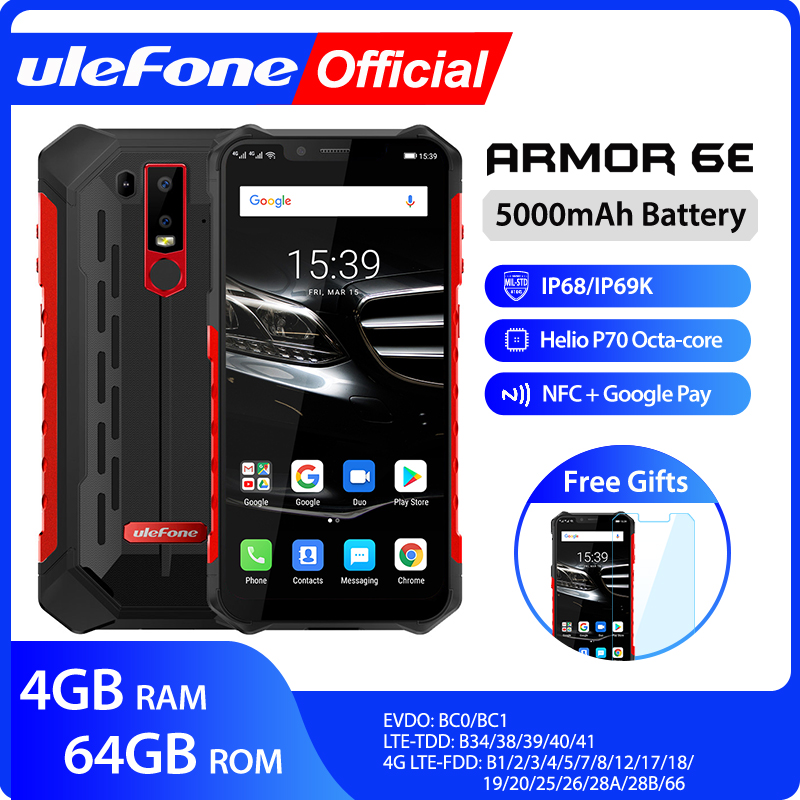 Ulefone Armor 6E Waterproof IP68 NFC Rugged Mobile Phone 2.4G/5G WiFi Helio P70  Android 9.0 4GB+64GB Wireless Charge Smartphone