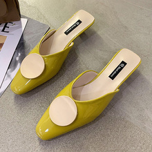 Yellow Pink Buckle Mules Shoes Women Slippers Sexy Pointed Toe Mid Heel Slippers Women Summer Fashion Thin Heels Designer Slides byqdy fashion women summer slippers sexy buckle thin heels women slippers sandals slides shoes size 35 40 big promotion black