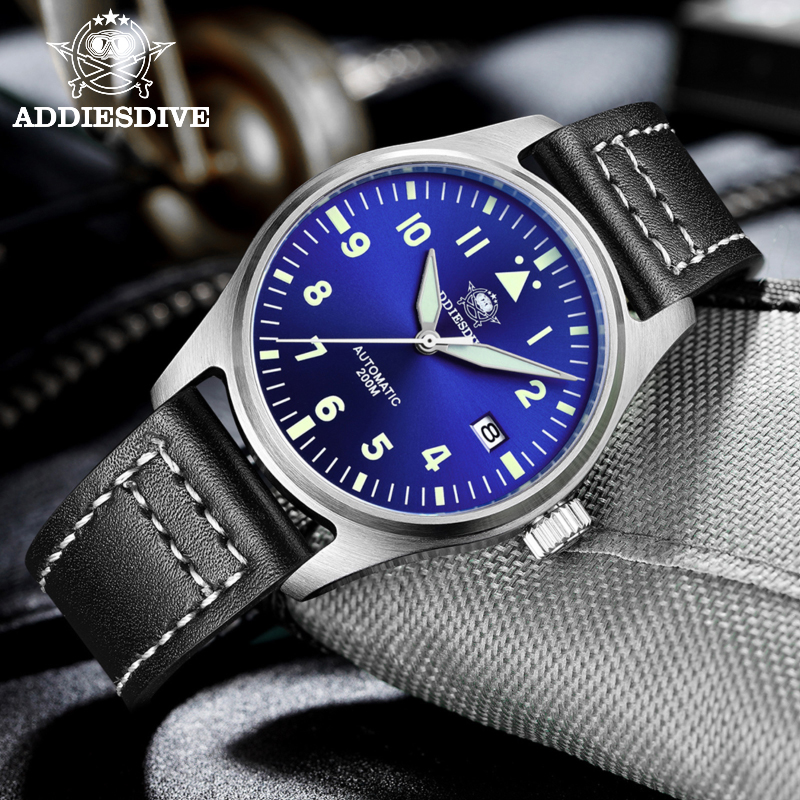 Automatic Mechanical Men's watch Sapphire Crystal Stainless Steel NH35 Pilot watch1940  Leather Waterproof automatic watch men 5