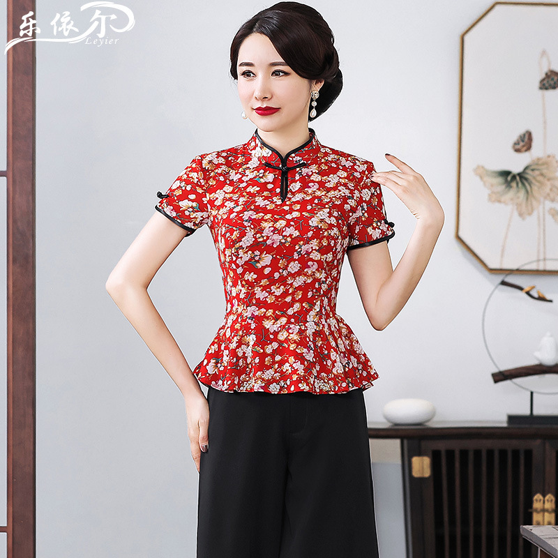 Summer New Style Fashionable Chiffon Cheongsam Tops Short Sleeve Floral-Print Chinese Costume Set Two-Piece Set Middle-aged Wome