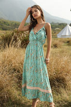 Женское платье на бретельках Длинные Платья с цветочным принтом