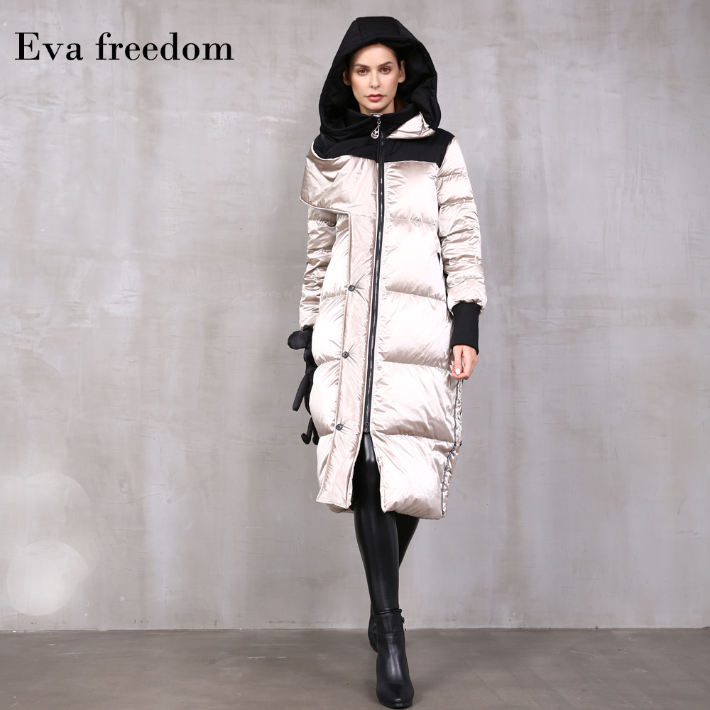90% Duck Down Warm Parkas Coat Winter Fashion Brand Thick Warm Down Jacket Female Long Dolly Stitching Hooded Down Jacket F328