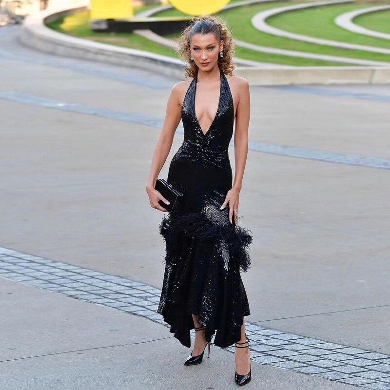 Babatique/2019 модное черное летнее платье, сексуальное, с глубоким v образным вырезом, с открытой спиной, с блестками, перьями, дизайнерское макси