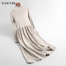 2020 Spring Autumn Turtleneck Sweater Dress Women Casual Lon