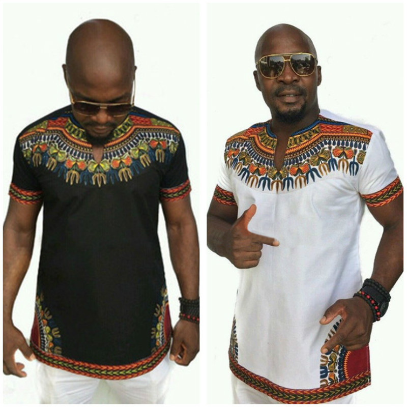 African Men Clothes Bazin Riche Homme Dashiki T Shirt Traditional Print Clothing Vestido Africano Ankara Tops Fashion Blouse Tee