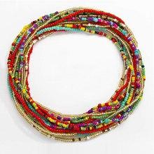 1pc cintura elástica talão correntes verão corpo cadeias colorido contas de barriga africano biquini jóias correntes para mulher e meninas