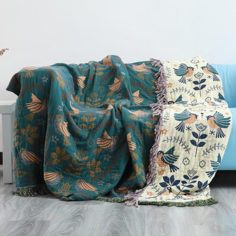 Junwell 100% Cotton Muslin Sofa Cover Summer Blanket Gauze Bed Chic Tassel Multifunction Travel Breathable Throw Blanket