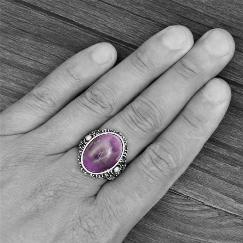 VINTAGE รูปไข่อเมทิสต์ควอตซ์ Jades แหวนโบราณหินธรรมชาติ Tiger Eye แหวนผู้หญิงผู้หญิง