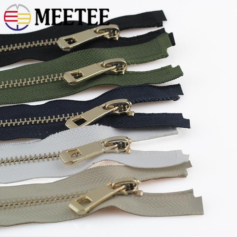 Meetee 2pcs 35-85cm 5# Metal Zipper Gold Open-end DIY Sewing Bags Pocket Coat Down Jecket Clothing Accessories Tools BD249