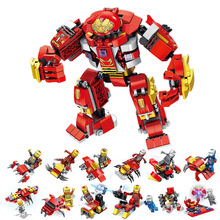 цена на 12 In 1 Marvel Infinity War Building Blocks Avengers Super Heroes Hulkbuster Ultron Iron Man Edition Bricks Toys For Children