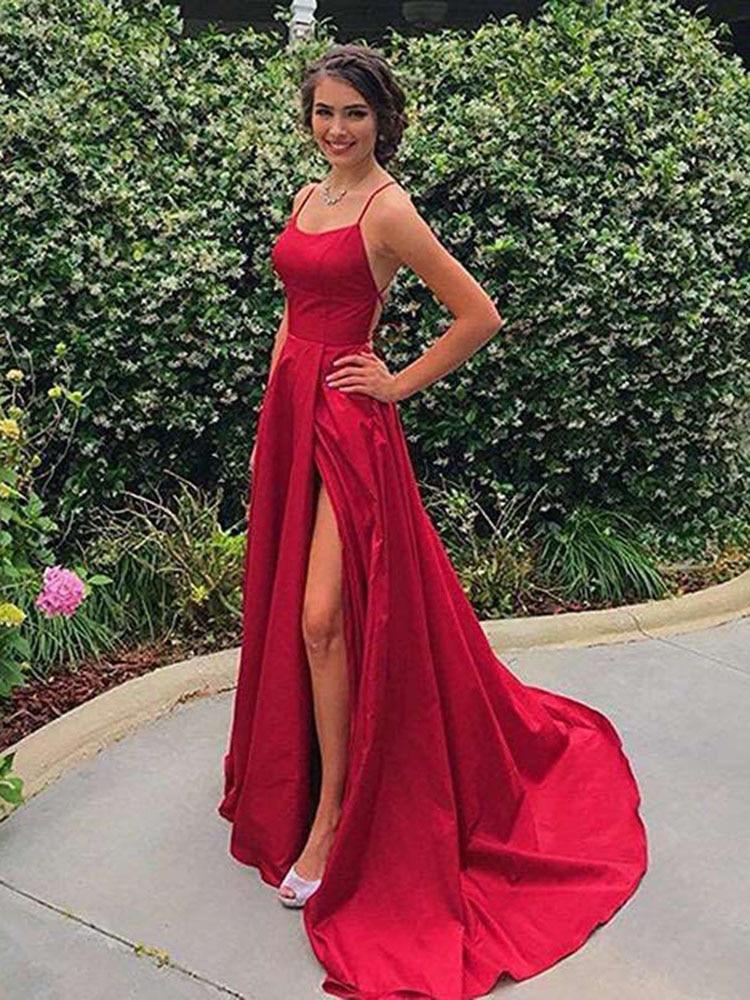Prom-Dresses Satin Vestidos-De-Festa Backless Split HALTER-NECK Sexy Longo Front A-Line
