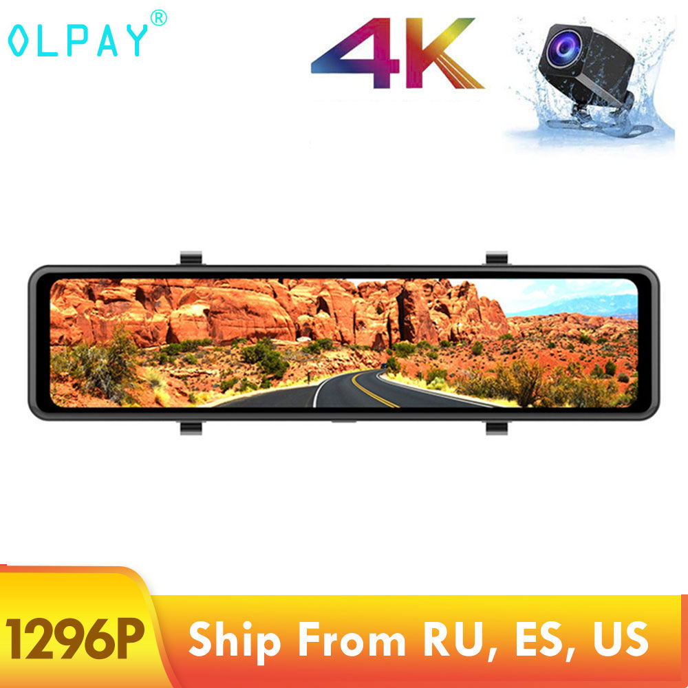 OLPAY FHD 1296P <font><b>Car</b></font> <font><b>DVR</b></font> <font><b>GPS</b></font> Dash Cam 4K 12 Inch <font><b>Car</b></font> Camera Night Vision Video Recorder Registrar with 1080P Rear Camera image
