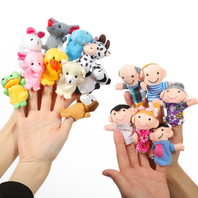 12Pcs/Set Cartoon Animal Family Finger Puppet Soft Plush Toys Role Play Tell Story Cloth Doll Educational Toys For Children Gift