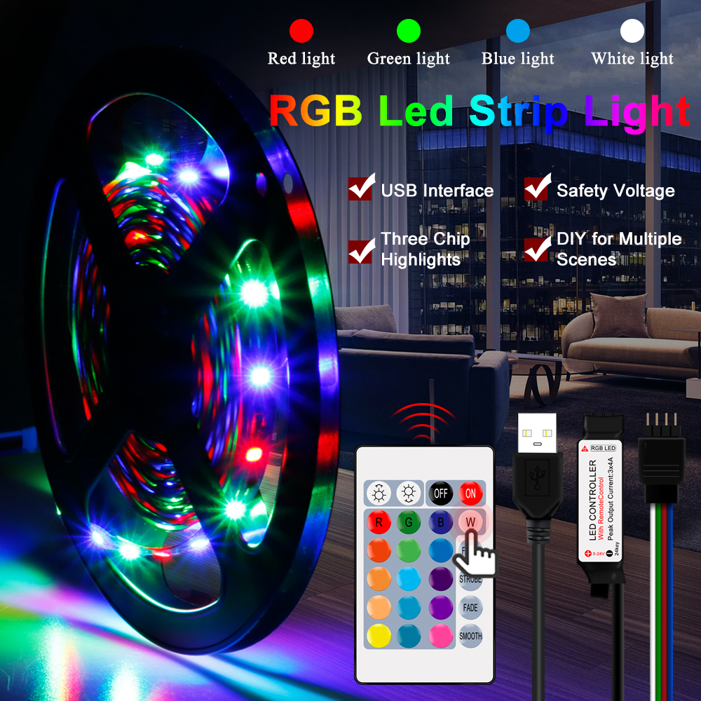DC5V USB LED Strip RGB 5V 2835 50CM 1M 2M 3M 4M 5M TV Background Lighting Flexibe Led Light Strip Adhesive Tape IP65 Waterproof