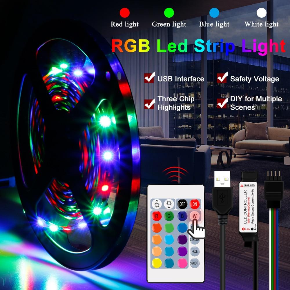 DC5V USB LED Strip RGB 5V 2835 50CM 1M 2M 3M 4M 5M TV Background Lighting Flexibe Led Light Strip Adhesive Tape IP65 Waterproof