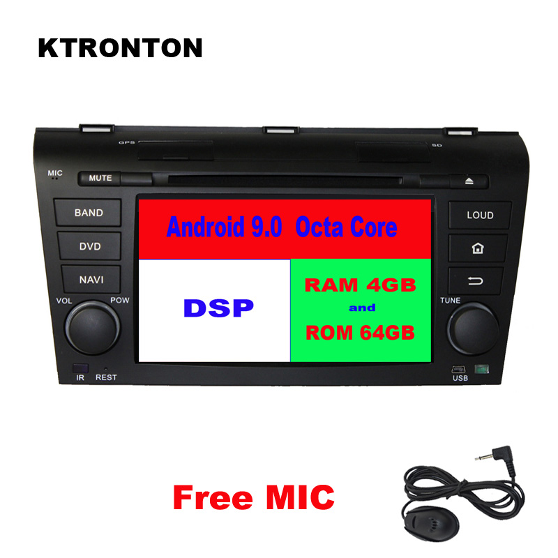DSP 4GB RAM + 64GB ROM Octa-core Android 9.0 Car DVD Player for <font><b>Mazda</b></font> <font><b>3</b></font> 2003-2009 Radio RDS <font><b>GPS</b></font> Glonass Navigation <font><b>Map</b></font> Wifi DVR image
