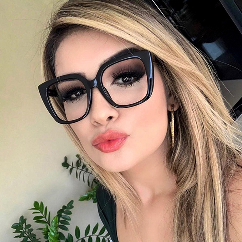 Women's Eyeglass Frame 2019 New Black Square Glasses Frame Women Big Glasses Frame Oversized Fashion Styles Acetate