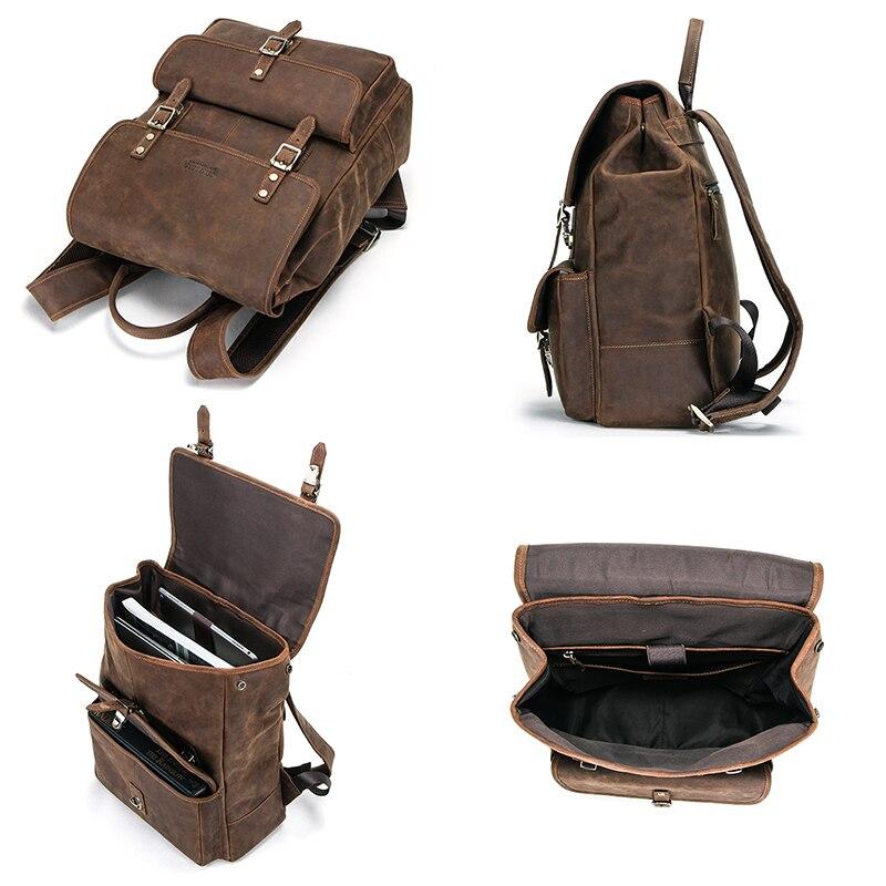 Masculino genuíno crazy horse couro portátil mochila de viagem de negócios vintage saco para 13.3 portátil e notebook - 4
