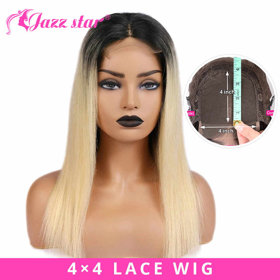Brazilian Wig 4x4 Lace Wig Ombre Straight Lace Closure Wig 1B/613 Colored Human Hair Wigs For Black Women Jazz Star Non Remy