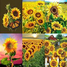 5D DIY Full Drill Diamond Painting Sunflower Butterfly Painting Cross Stitch Mosaic Craft Picture for Home Wall Decoration
