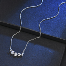 Vintage Womens Silver Color Lunar Eclipse Moon Phase Pendant Necklace Jewelry Gift Initial Necklace