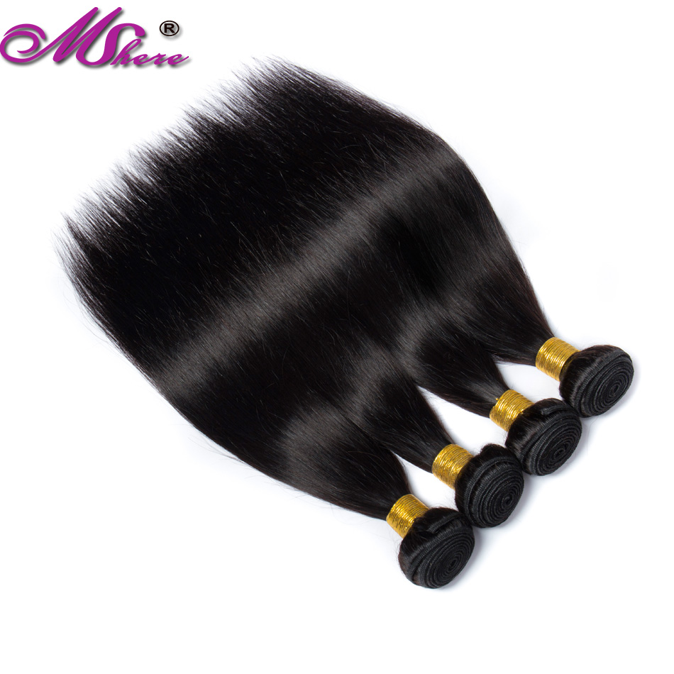 Image 4 - Mshere straight hair bundles brazilian hair weave bundles 100% human hair bundles Natural Color non Remy hair weave 1  pieces-in Hair Weaves from Hair Extensions & Wigs