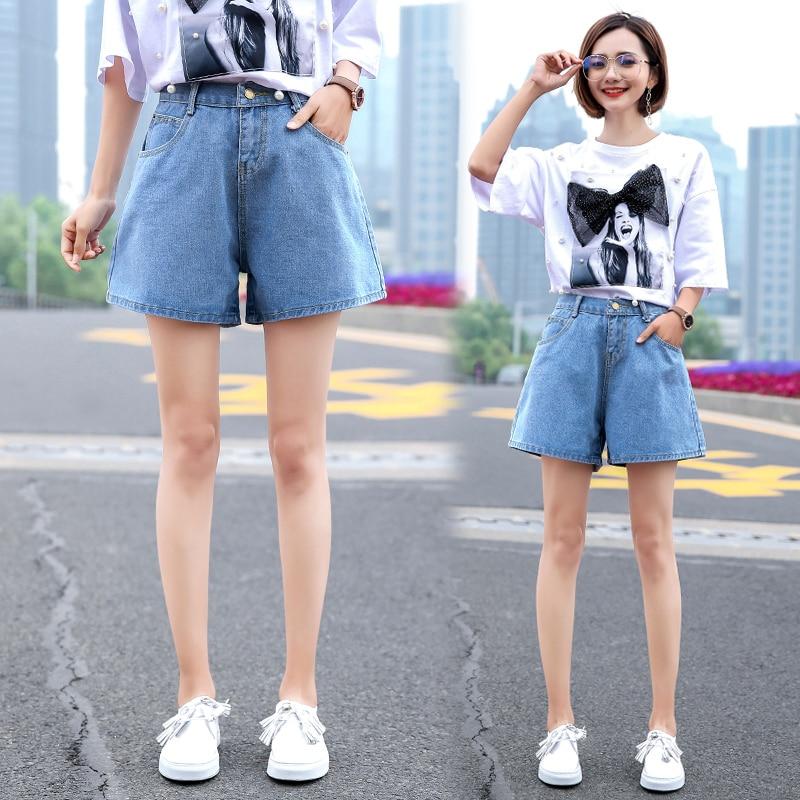Women Wide Leg Denim Shorts High Waist Cuffed Jeans Shorts Street Wear Plus Size Blue Vintage Short Shorts