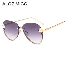 ALOZ MICC Fashion Pearl Sunglasses Women Brand Design Metal Frame Vintage Ladies Elegant Sun Glasses Female High Quality UV400