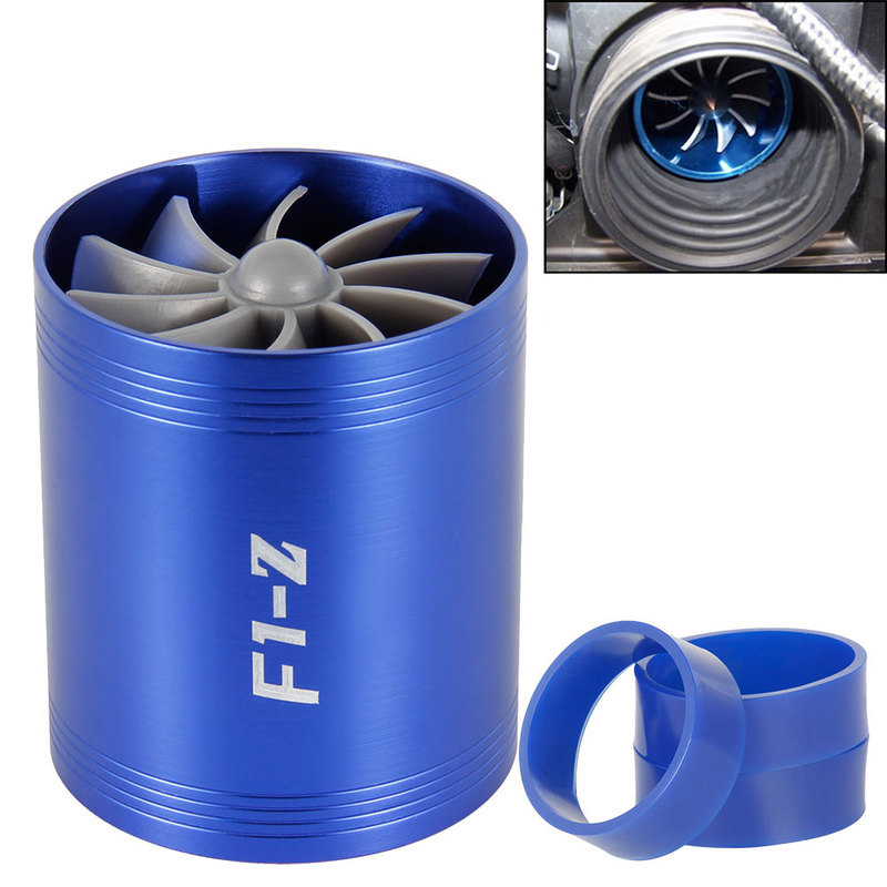 Image 3 - Car Turbine Supercharger F1 Z Turbo Charger Single Double Air Filter Intake Fan Fuel Gas Saver Kit Auto Replacement Part-in Air Intakes from Automobiles & Motorcycles