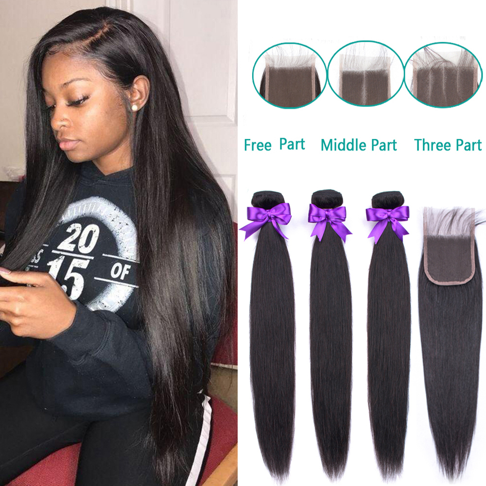 Brazilian Straight Hair Bundles With Closure 3 Pcs Human Hair Bundles With Closure Hair Extension Non-remy Fashion Queen