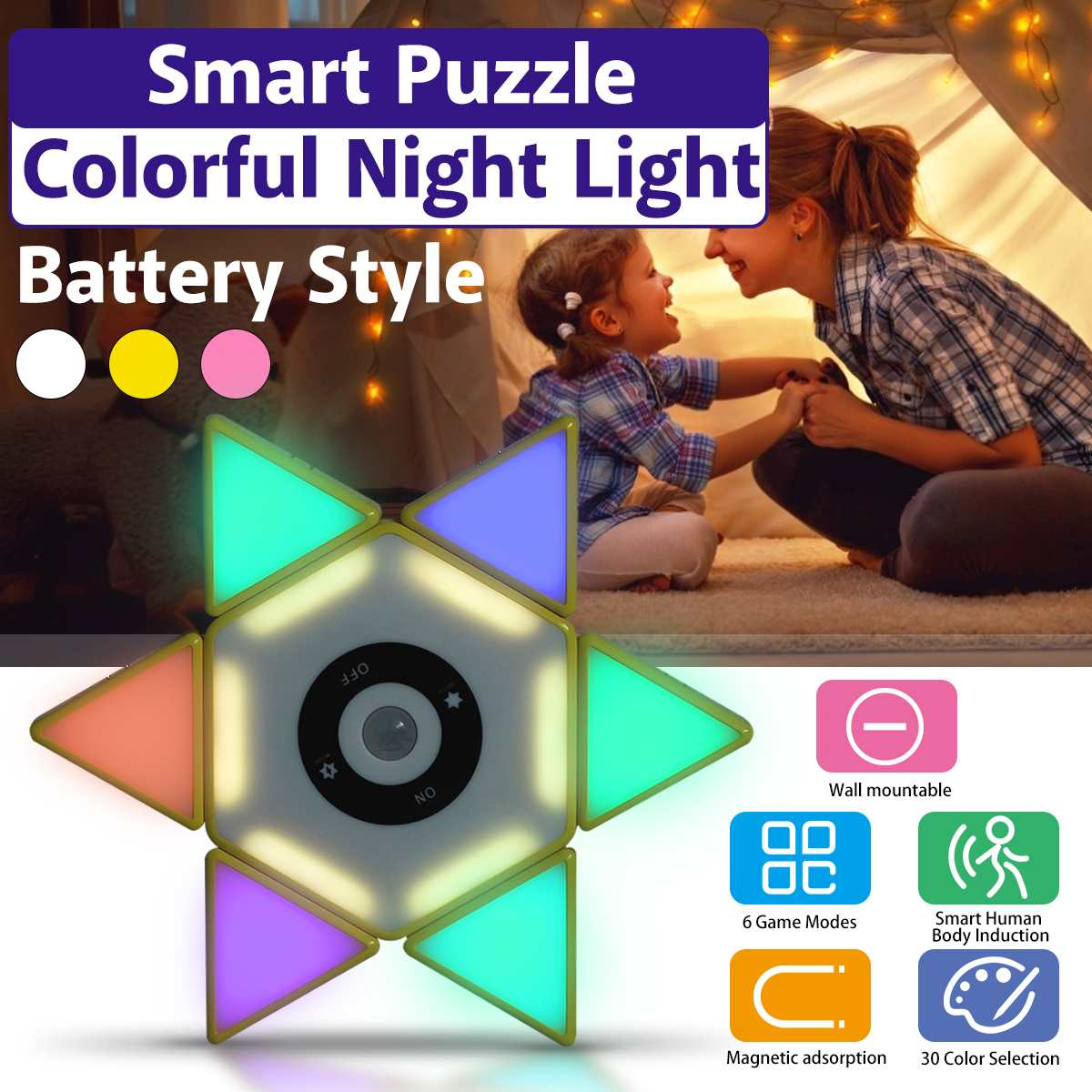 New Colorful Night Light Smart Puzzle Colorful Night Light Induction Light Decoration Wall Lamp For DIY Tetris Puzzle Light