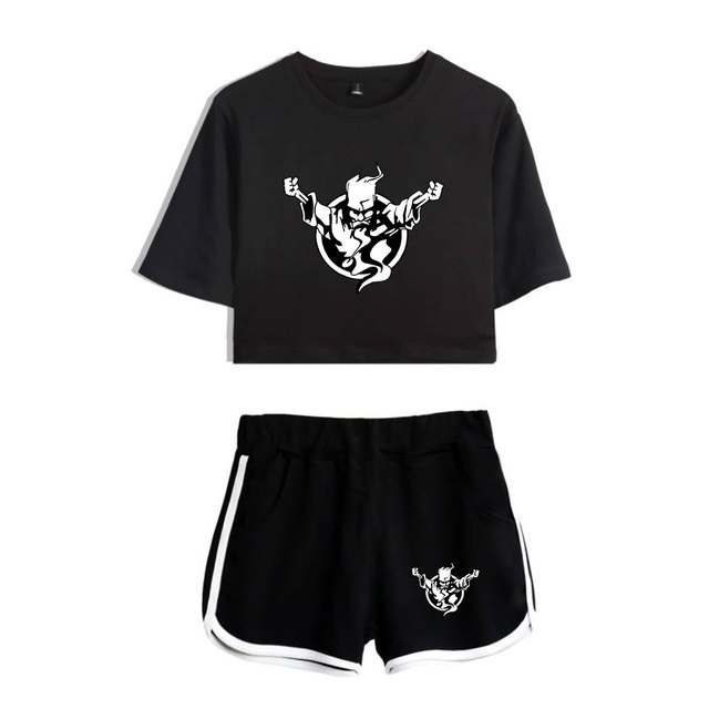 Thunderdome music Festival Printed Hip Pop Summer Cool Two Pieces Sets Navel Women T-shirts+shorts Harajuku Fashion Pullover Set 2