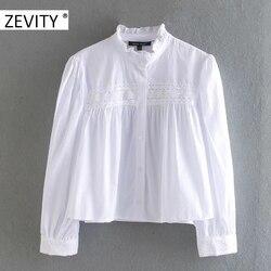 Zevity Nieuwe Vrouwen Mode Stand Kraag Ruches Wit Poplin Blouse Shirt Vrouwen Kant Haak Chic Blusa Herfst Chemise Tops LS7196