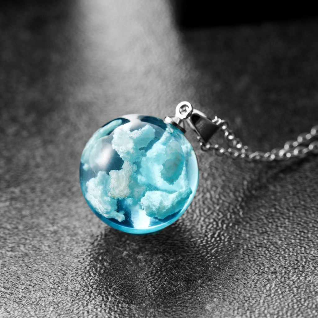 Natuur Bluesky Witte Wolk Hars Transparante Dames Ketting Sieraden Gift Trui Keten Ketting Vrouwen Collares Sieraden Gift # M17