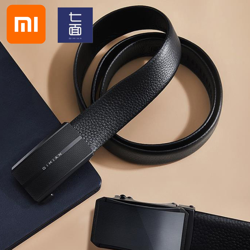 Xiaomi Qimian Men's Belt Nappa First Layer Leather Casual Business Fashion Automatic Buckle Belt Mirror