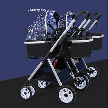 Twin baby strollers 3 in 1 detachable high landscape lightweight folding shock absorber double two baby sleeping basket carriage image