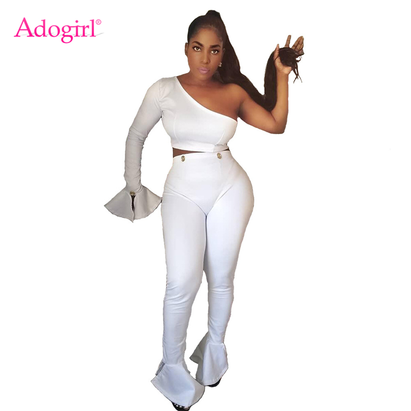 Adogirl Solid White Women Sexy Two Piece Set One Shoulder Long Button Flare Sleeve Crop Top High Waist Boot Cut Pants Outfits