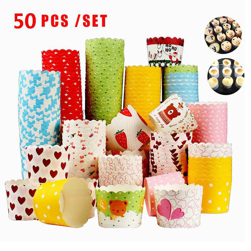 50pcs/set Paper Cupcake Muffin Cake Cup Mold Baking Package Tool Paper Cup Cake Mould Round for Baking Tools Cupcake Colorful