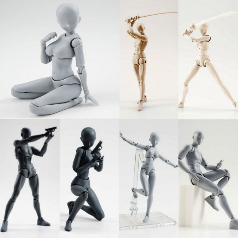 Figma He She Movable Body Joint Action Figure Toy Artist Art Painting Anime Model Doll Sketch Draw DIY Human Body Doll Set