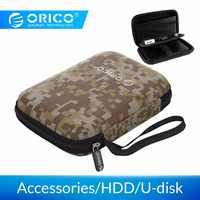 Orico caso caixa de 2.5 polegadas disco rígido proteção saco portátil mini tamanho para hdd/ssd, cabo usb, fone de ouvido, u-disco