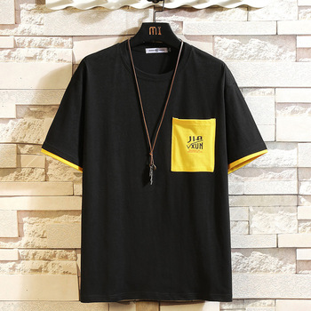 black yellow short sleeve loose mens tshirt