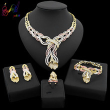 Yulaili 2019 Fashion Tricolor Crystal Pendant Necklace Earring Ring For Women Party Wedding Dubai Jewelry Sets Accessories